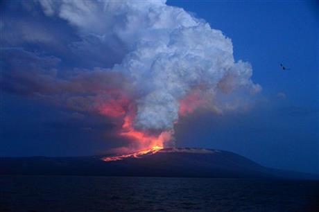 Vulkaan Galapagos Eilanden na 33 jaar weer actief