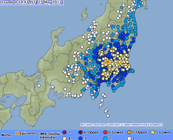 Aardbeving treft Tokyo