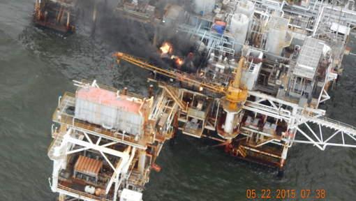 Brand op Amerikaans olieplatform
