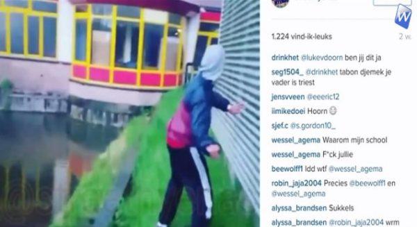 Volslagen idioten gooien ramen school kapot (video)