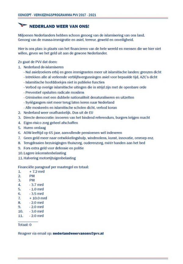 Uitgelekt, het PVV 2e kamer verkiezingsprogramma